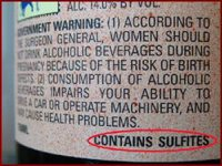 Thumb sulfites on label