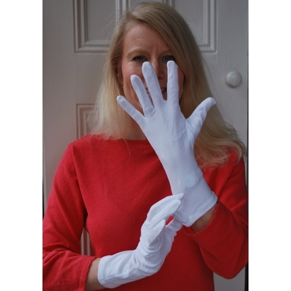 Click to enlarge - White Cotton Gloves for Adults with Eczema